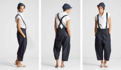 ANNETTE GÖRTZ Trousers / Summer trousers with straps, size 42, navy
